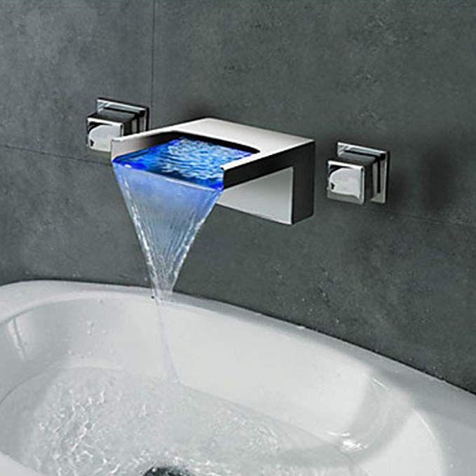 Lightinthebox Contemporary Wall Mounted Waterfall Led Color Changed Design Ceramic Valve Two Handles T Industrial Bathroom Decor Bathroom Basin Bathroom Design
