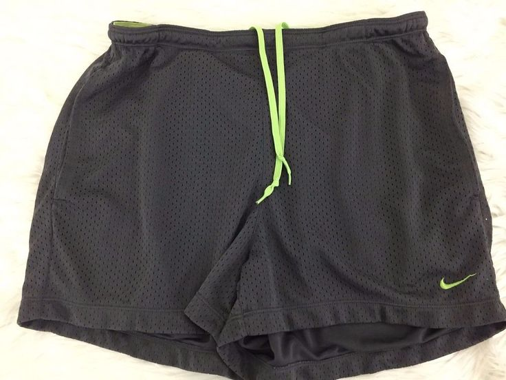 NIKE Girls Gray Shorts with Lime Green drawstring Size Med (8-10) Lined #Nike #Everyday