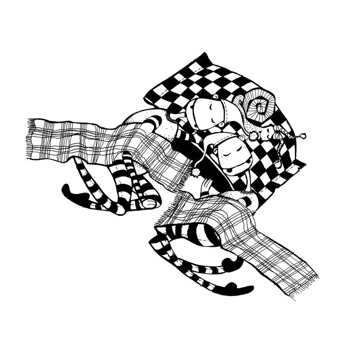 black and white illustration of sleeping creatures by zazdesign