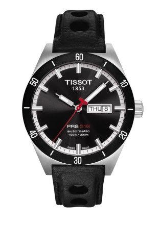 Montre TISSOT Homme PRS516 automatique, cadran noir, modèle avec verre saphir et bracelet à trous en cuir noir.