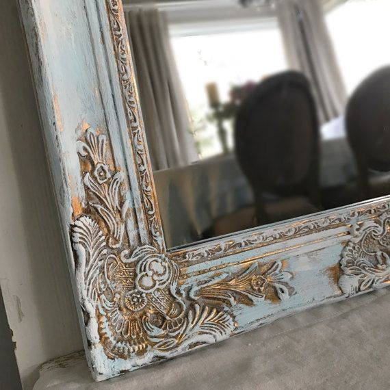 Blue Chippy Paint Mirror Farmhouse Bathroom Shabby Chic Extra Large Distressed Vanity Baroque