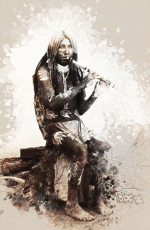 Native American Indian Flute Player Yuma Arizona Modern Vintage Photo to New Original Art Print Wall Home Office Decor