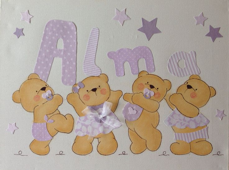 Cuadro de ositos en tonos lilas para alma 30x40cm - Cuadros infantiles silvia munoz ...