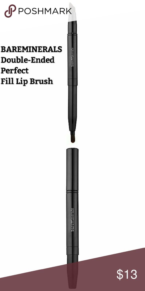 Bareminerals double ended perfect fill lip brush What it is:  A lip brush with synthetic fibers for concealing and blending lip color.   What it does:  This dual-ended brush makes tricky lip color application easy. Designed with synthetic fibers that won?t absorb saturated pigments, it swipes on full-coverage color. One end has a slim brush for controlled definition and precision lining. At the other end, a fuller brush delivers more color to swiftly fill in your lips. Its hand-shaped…