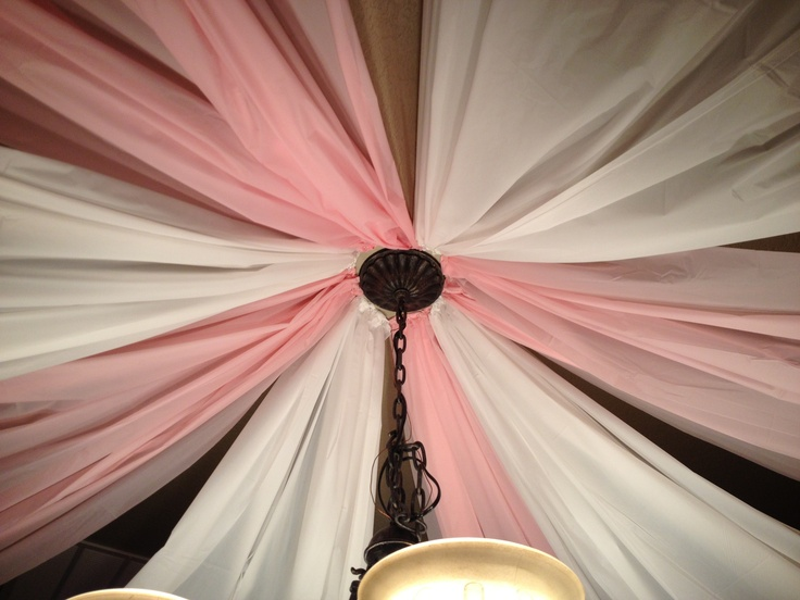 Party Canopy! Super easy to make for any occasion ! Use plastic tablecloths, open all the way, fold one end accordion style then attach to ceiling & fan out!