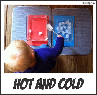 Age 2-4. M 4.11  Move objects from one container to another. M 1.19 Identify when something is hot and cold.