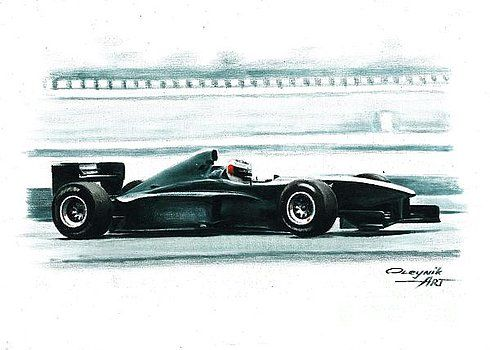 1998 Ferrari F300, test Fiorano,   Michael Schumacher  Ferrari F1 collection ART by Artem Oleynik. This collection demonstrating Ferrari F1 racing cars since 1950 to 2016 and includes 96 pictures in oil on canvas. The size of each original picture is 25 x 35 cm.
