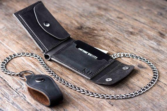 Biker Wallet  Wallet  Men's Dark Leather Biker Wallet  by JooJoobs