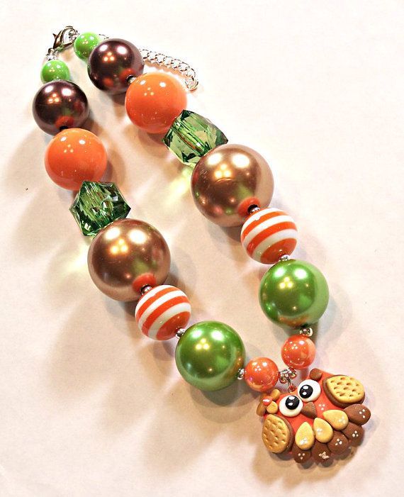 Owl Orange Brown Green Chunky Girls Big Bead by HauteTottiesBling, $22.50