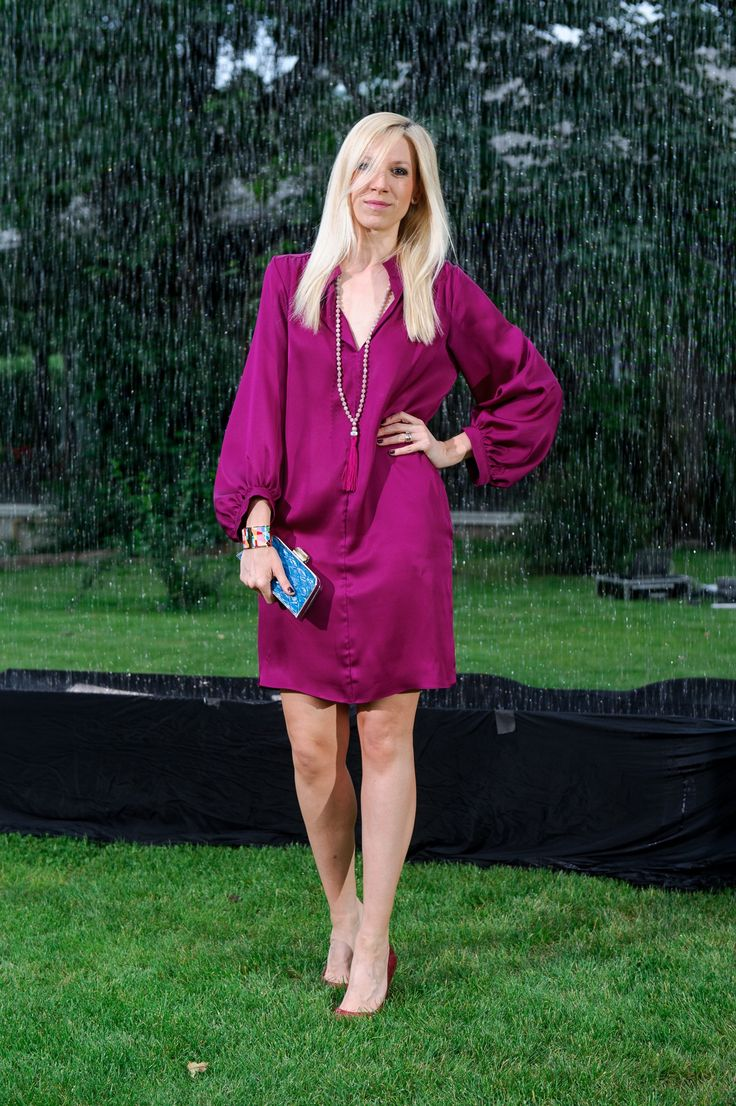 Sonia Argint Ionescu wearing http://shop.laurahincu.ro/product/office/magenta-silk-crepe-loose-dress/