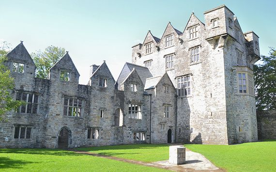 Located at the center of Donegal town, Ireland, is the 15th century Donegal Castle. Until the late 1990s the castle, on the banks of the River Eske, stood in ruins but has now been extensively restored. The castle was built by the O'Donnell chieftain in the 15th century and had extensive 17th century additions by Sir Basil Brooke. In was built in the style of a rectangular keep with a later Jacobean style wing and surrounded by a 17th-century boundary wall.