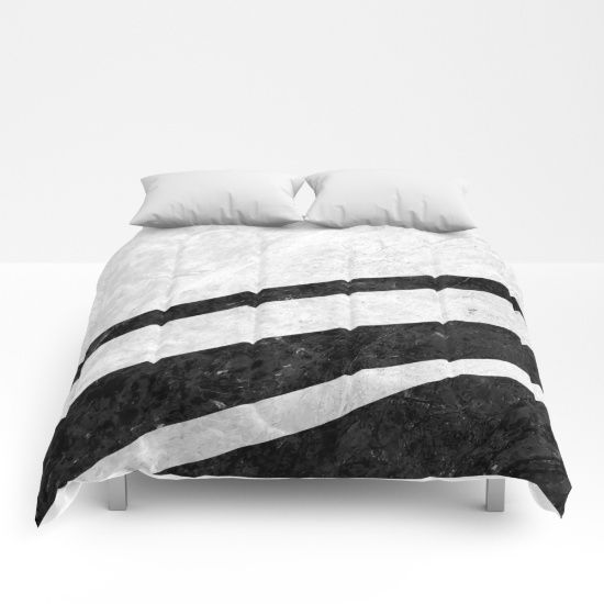 Digital design with stripes of black marble over a background of white pattern marble. #marble #stone #texture #pattern #black #white #stripe #striped #comforter #bedroom