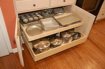 Pull Out Shelves and a Center Stile Removal traditional cabinet and drawer organizers