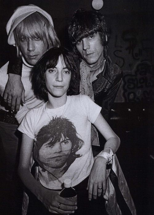 Patti Smith, Iggy Pop and James Williamson, backstage at The Whisky A Go Go, 1974