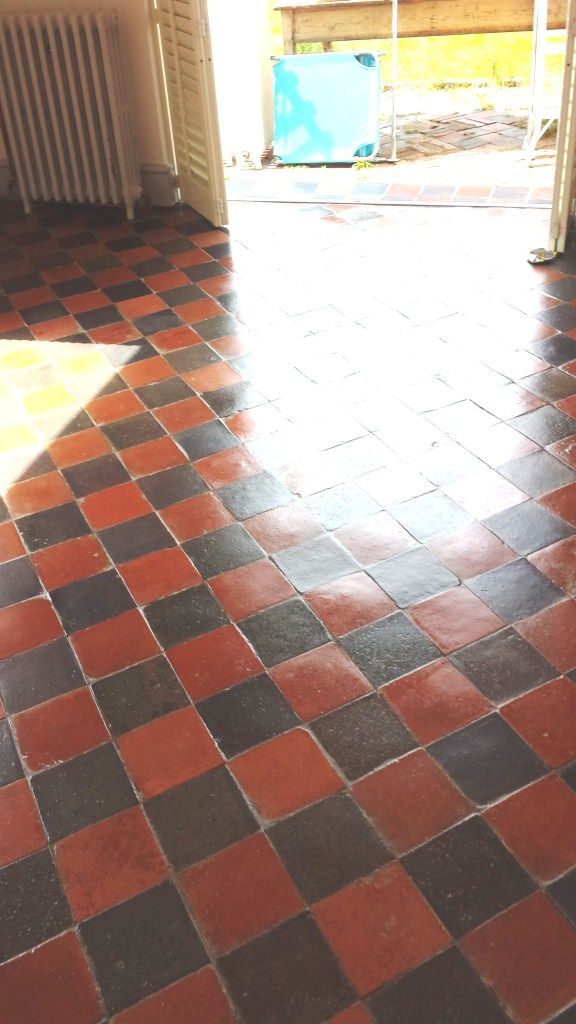 This was a very straightforward request to clean and seal an old Quarry tiled floor that dated back to the Victorian era. The tiles didn't appear to have any sealer or other treatment applied, it could be if there was anything it had worn off a long time before.