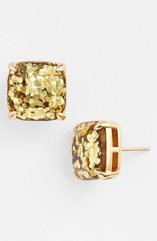 Kate Spade boxed gold glitter earrings.