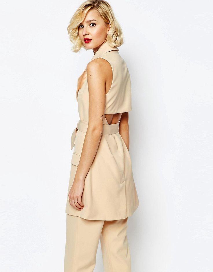 Lavish+Alice+Open+Back+Oversized+D-ring+Belt+Sleeveless+Trench+Coat
