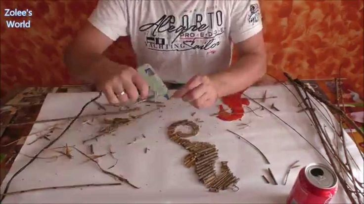 Create a seahorse wall decor:  - Choose a seahorse image from the internet. for example: http://www.mosaic.pro/images/products... - print it - cut it from a cardboard - break branches - stick the branches /and a soda can opener/ on cardstock