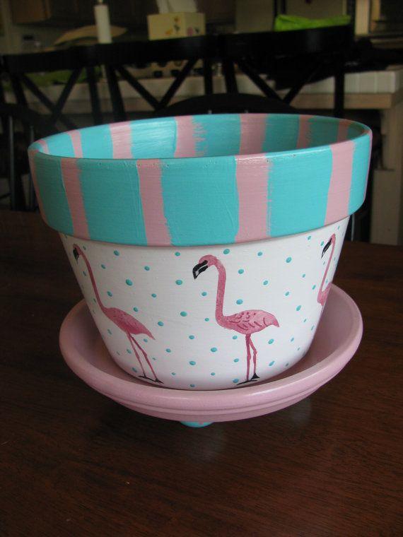 Flamingo Flower Pot por bubee en Etsy