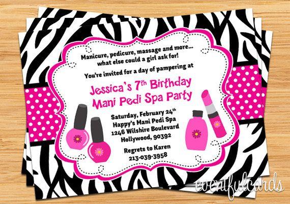 Mani Pedi Spa Party Birthday Invitation - Pink Black Zebra Stripe. $14.99, via Etsy.