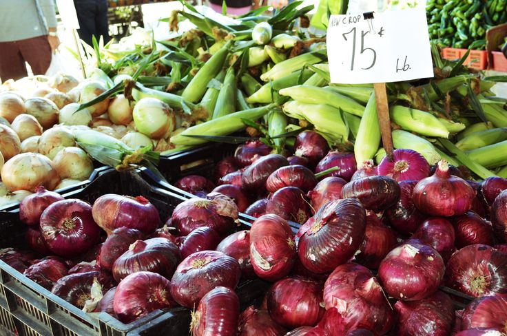 New crop red onions at Sacramento Farmers Market.  Wanted to go have a hamburger.