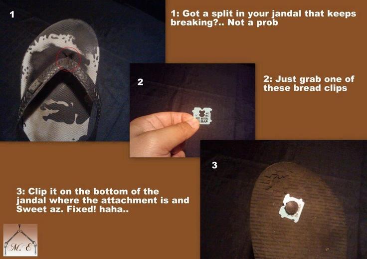 fix a broken flip flop with a bread clip (thongs, flip-flops)Flipflops, Breads Clips, Crafts Ideas, Helpful Hints, Broken Flip, Flip Flops, Clips Ideas, Flops Solutions, Smartiep Ideas