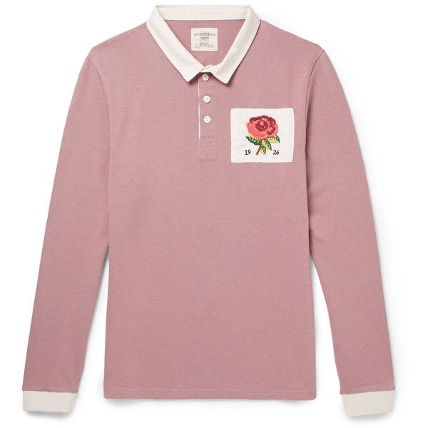 Kent Curwen Appliquéd Cotton-Jersey Polo Shirt ($185) ❤ liked on Polyvore featuring men's fashion, men's clothing, men's shirts, men's polos, mens rose shirt, mens sports polo shirts, mens sport shirts, mens sports t shirts and mens pink polo shirt