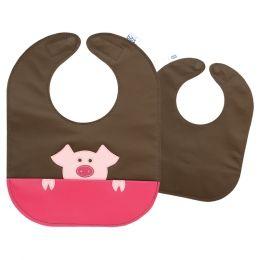 Peeking Pig Leather Bib. Washable & Reversible. From Mally Designs. $34.95