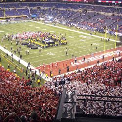 Wisconsin defeated Michigan State, 42-39, in the initial Big Ten Championship game on Dec. 3, 2011, in Indianapolis (2011 big ten football championship - Google Search).