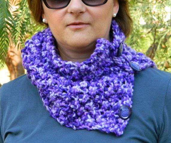 Chunky purple cowl purple chunky neckwarmer purple by craftysou, $33.00