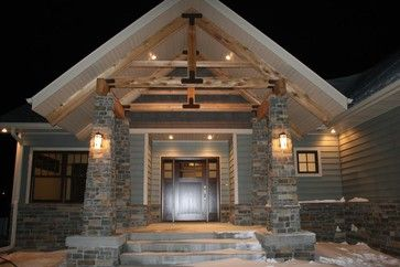 Exposed Cedar Truss Front Porch With Natural Slate Stacked