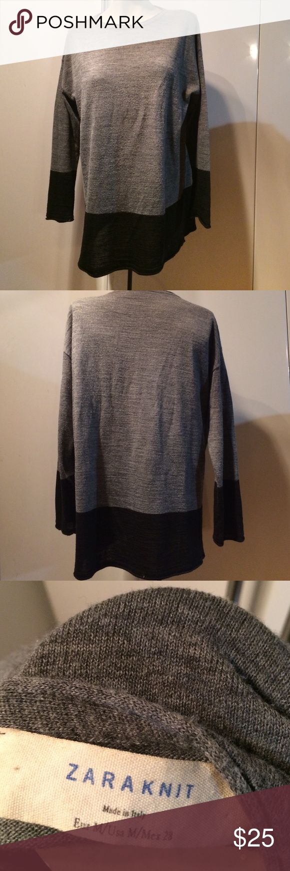 Zara (Italian) light sweater CYBER MONDAY SALE  ❤️️Bought in Europe. Gently worn. Please see last photo for some peeling in the front, which shows signs of been truly loved. Zara Sweaters Crew & Scoop Necks