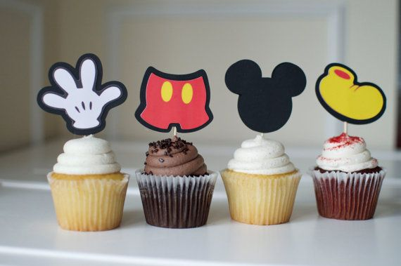 Mickey Mouse Birthday Cupcake Toppers 24 Mickey by DillyBeanDesign