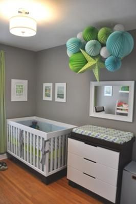 An inexpensive homemade nursery ceiling cluster leaves room for other decorations in the room and gives baby something amazing to look at!  Get instructions on how to make the paper lantern ceiling mobile here!  http://www.unique-baby-gear-ideas.com/modern-baby-boy-nursery.html
