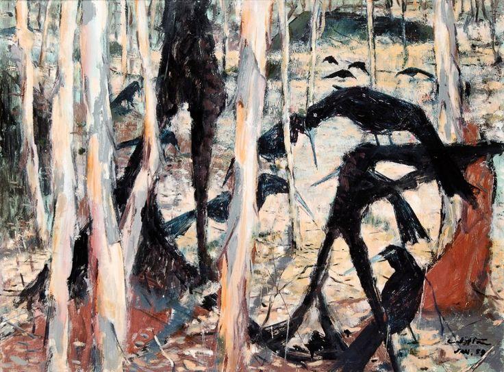 Clifton Ernest Pugh (Australian, 1924–1990), Trees with Apostle Birds, 1959. Oil on board, 69 x 91 cm.