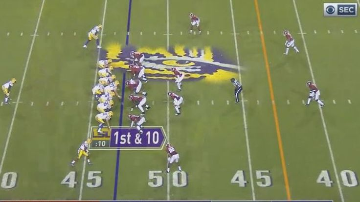 Because Alabama's front was still unblockable against LSU, Alabama did not need to load the box too often.