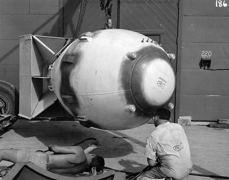 """Finalizing The Fat Man Atomic Bomb, Which Was Dropped On Nagasaki On August 9, 1945. On Its Nose It Had Stenciled The Acronym """"Jancfu""""- Joint Army-Navy-Civilian F*** Up"""