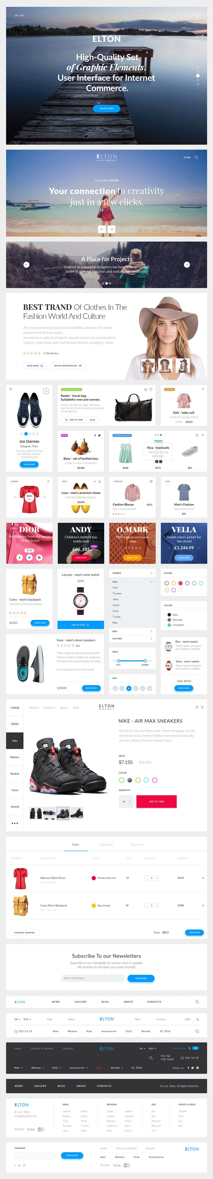 Elton is a clean freebie PSD eCommerce Ui Kit, which includes the following elements and widgets: sliders, product cards, filters, navigations, checkout element, subscribe form and footer section. Such a large number of components makes it a good helper and saves time for any web designer. Format: PSD Size: 25.4mb Author: Pixel Buddha