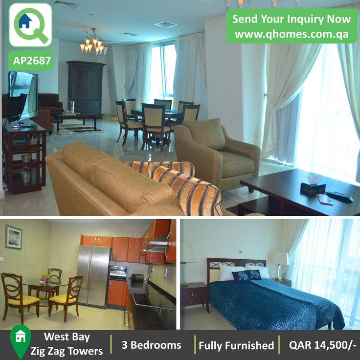 Apartment For Rent In Qatar: 3 Bedrooms Fully Furnished Apartment In Zig  Zag Towers At