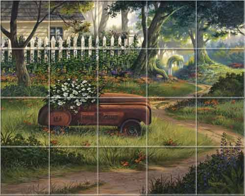 Kitchen Mural Tiles Farm Country Rustic Hero S