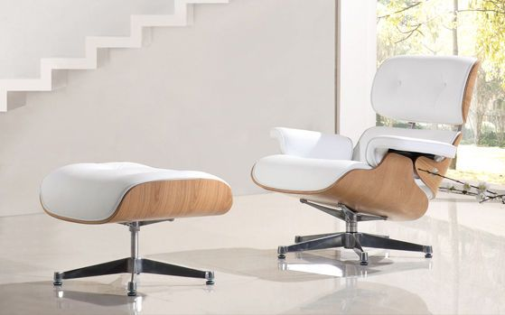 Premium Ash Wood - Eames Style Lounge Chair & Ottoman White Leather…