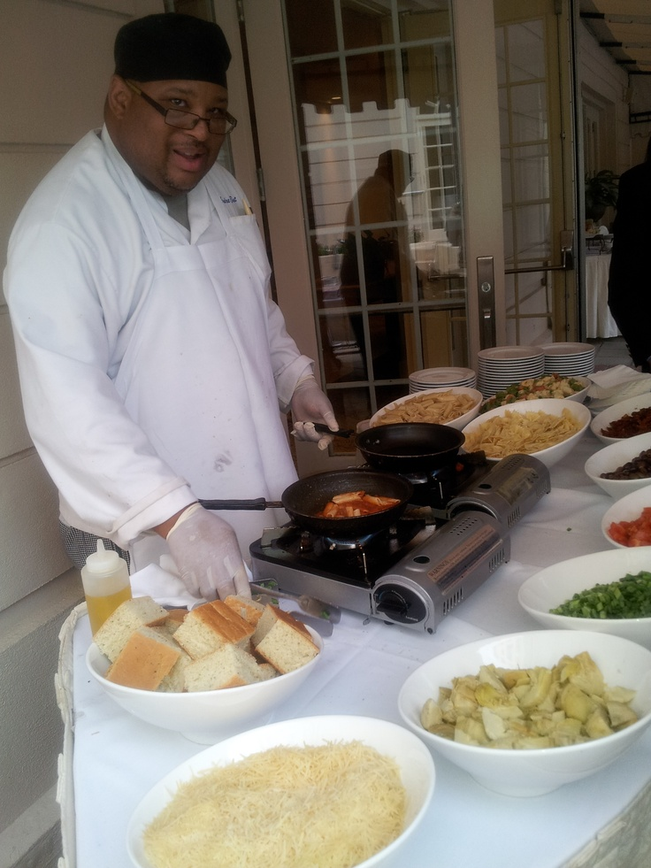 Action pasta station with chef attendant garden terrace
