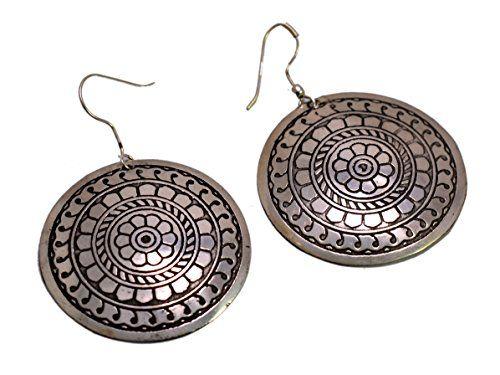 A Pair of Indian White Metal Traditional Boho Hippie Earrings Aife_709 Krishna Mart India http://www.amazon.com/dp/B00MHTNVKI/ref=cm_sw_r_pi_dp_0lqJvb1QBPP8Y