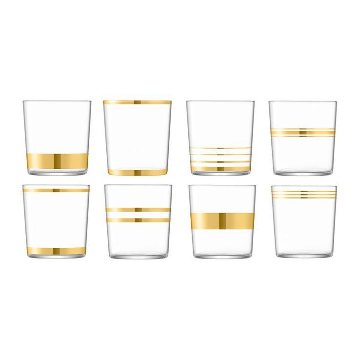 LSA International Deco Assorted Gold Tumblers - Set of 8   Amara - These art deco glasses.. I love them!