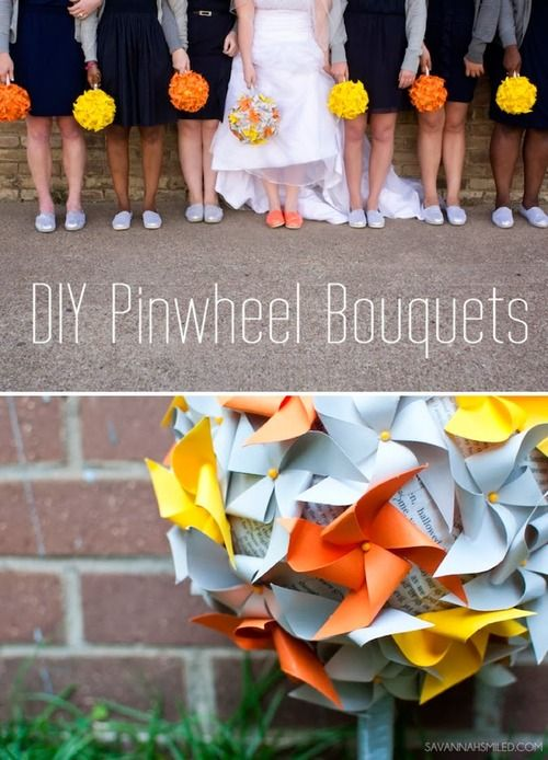 Pinwheel bouquets made from paper and push pins. For the center they used squares of newspaper glued to a styrofoam ball. If you don't like the newsprint, you could use fabric, colored paper, or whatever you want to hide the foam.