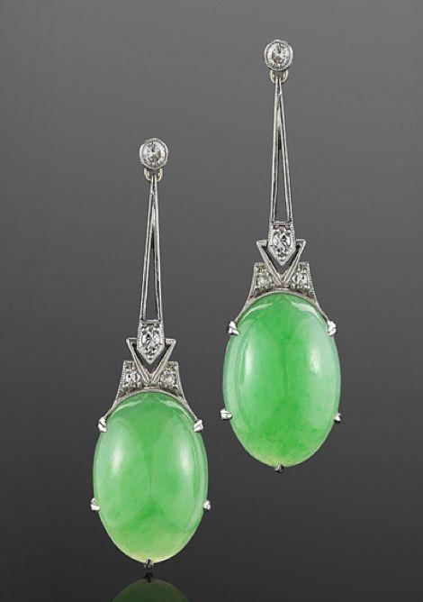 Art Deco Jade and Diamond Deco Earrings, circa 1920 Bright oval jade cabochons are suspended on diamond and platinum wire work frames. @Deidra Brocké Wallace
