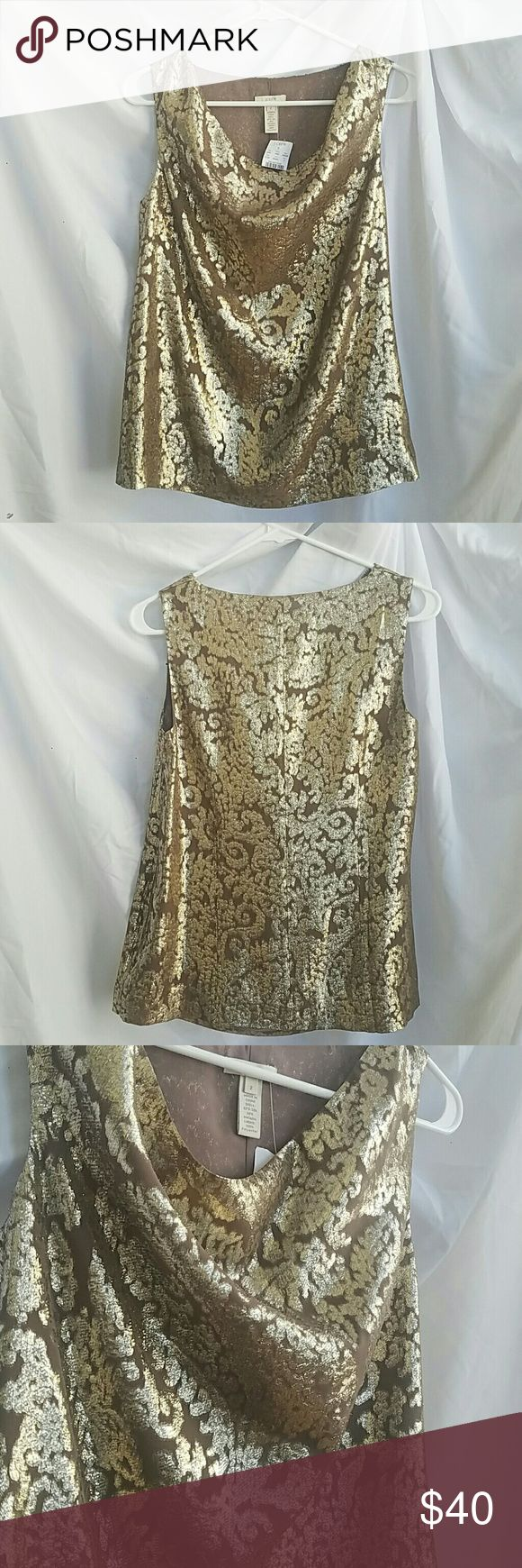 NWT J Crew Sleeveless Metallic Blouse Sz 2 NWT J Crew sleeveless blouse with cowl neck. Pattern features dark tan and gold metallic. Partial Size on side. Size 2. Perfect for winter and the holidays! J. Crew Tops Blouses