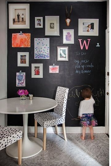 This reminds me... Paint a chalk wall in the garage or paint one of the large storage doors in chalk. Reminders, art etc. It never looks great inside the house... well after the photo shoot that is ...