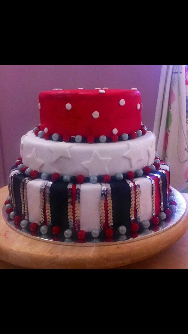 21st red, black and white cake