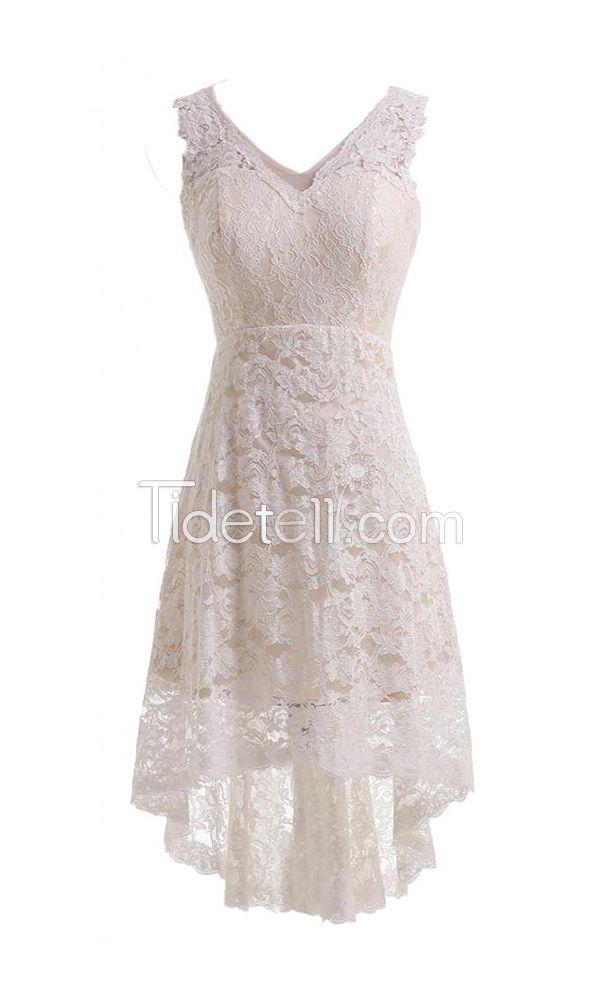 Simple A-line Lace V-neck High Low Wedding Dresses Zipper-up V-back